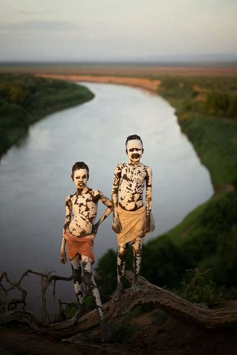 Cultural Chalk-Adorned Photography - This Tribal Photography Captures the Essence of the Karo Tribe