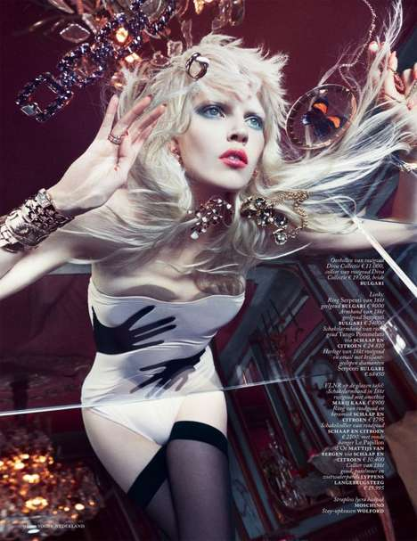 Extravagant Gem Stone Editorials - Ola Rudnicka Stars in the Vogue Netherlands March 2014 Issue