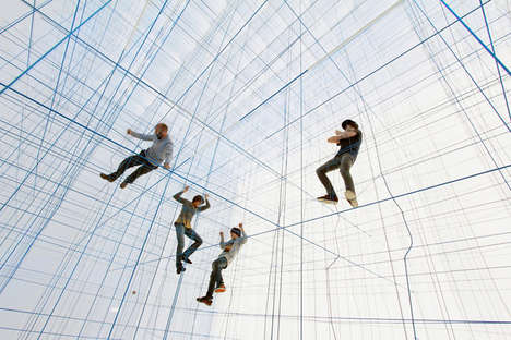 Large Geometric String Rooms - This Self-Supporting Structure Brings Psychedelic Geometric Style