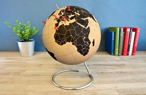 Pinnable Model Planets - The Cork Globe is an Interactive Spherical Map to Which You Can Stick Tacks