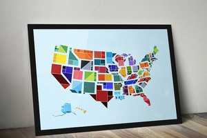 This Map of U.S.A is Depicted in Flat Shapes