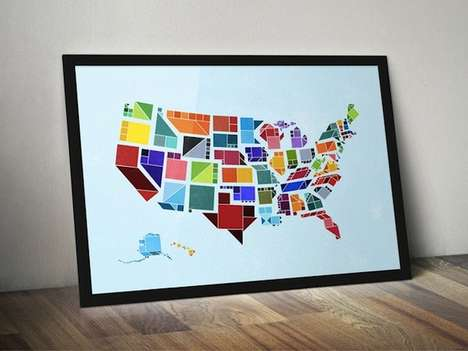 Monumental Geometric Graphic Maps - This Map of U.S.A is Depicted in Flat Shapes