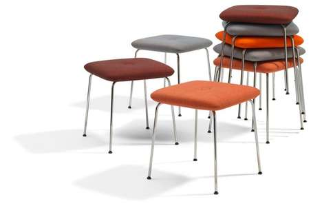 Stackable Upholstered Seating - The Dundra Stool Affords More Comfort Than Common Occasional Seats