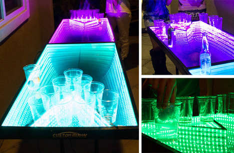 Dynamic Drinking Game Tables - This LED Beer Pong Table Glows to Party Music