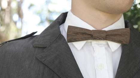 Whimsical Wooden Bow Ties - These Solid Bow Ties are Carved out of Refined Wood