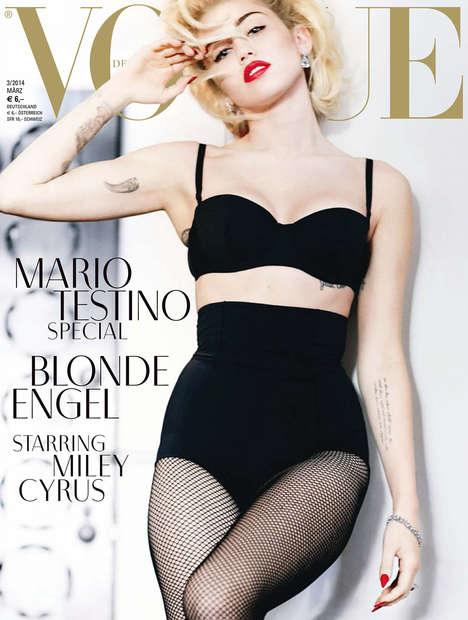Icon Impersonation Celeb Editorials - Miley Cyrus Stars in Vogue Germany March 2014