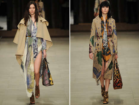 Boho Flower Motif Couture - The Burberry Prorsum Fall 2014 Collection is Tribal and Crafty