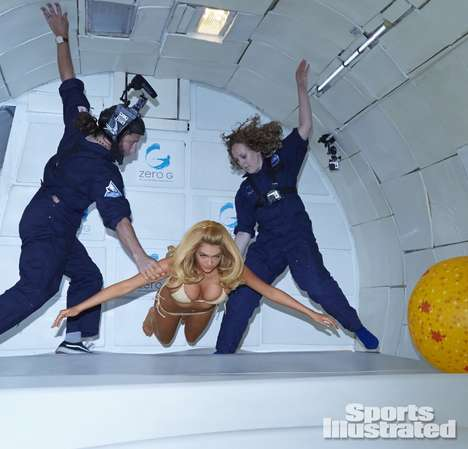 Zero Gravity Bikini Editorials - Kate Upton Defies Physics for Sports Illustrated Swimsuit 2014
