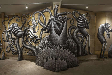 Menacing Monster Exhibits - Graffiti Artist Phlegm Creates Eerie Fantasy Characters