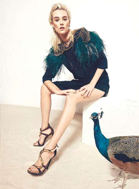 Tropical Bird-Inspired Fashion - The Harper's Bazaar Ukraine March 2014 Issue Stars Milou van