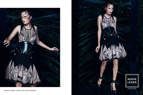 Dark Jungle Fashion Ads - The Herve Leger by Max Azria SS14 Campaign Stars Model Alla Kostromichova