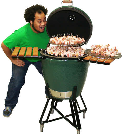Egg-Shaped BBQ Grills - The Big Green Egg Camping BBQ Grills Simultaniously Smoke and Grill Meals