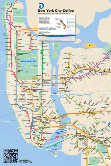 Caffeinated City Maps (UPDATED) - The New York Coffee Map Now Includes Brooklyn and Queens