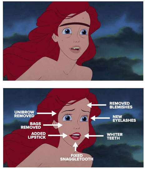 48 Comically Altered Disney Characters - From Retouched Disney Princesses to Animated Disney Selfies