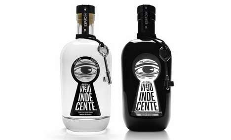 Keyhole-Peeping Packaging - Viejo Indecente Liquor Branding Suggests a Secret to the Spirit's Recipe