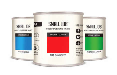 Swatch-Accented Canisters - Small Job Paint Packaging Emphasizes the Approachable Paint Chip