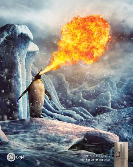 Fire-Breathing Arctic Animal Ads - The GE Cafe Refrigerator Dispenses Hot Water
