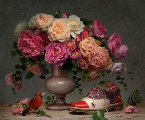 Baroque Floral Lookbooks - The Spring/Summer 2014 Christian Louboutin Campaign is Artsy and Floral