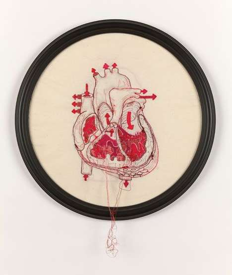 Embroidered Anatomy Art - Megan Canning Colorfully Stitches the Human Body
