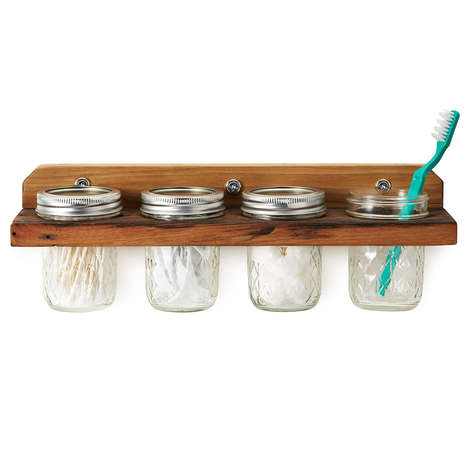 Mason Jar Storages - The Wooden Mounted Wall Caddy is a Crafty Way to Store Supplies