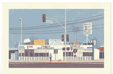 Retro Scene Architecture Illustrations