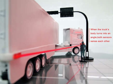 Truck-Turning Indicators - Safety Line Displays the Radius of a Bend for the Benefit of Pedestrians