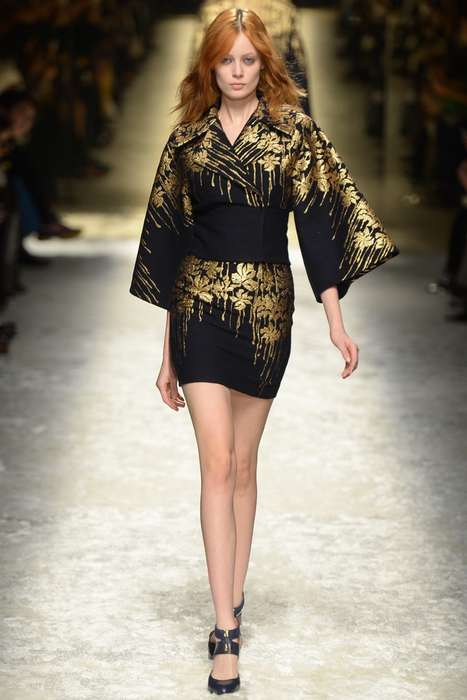 Eclectic Japanese-Inspired Couture - The Blumarine Fall 2014 Collection is Regal and Floral