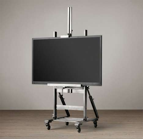 Industrial Television Displays - The Metal TV Easel Puts an Artistic Spotlight on TV Viewing