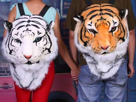 Plush Exotic Feline Backpacks - Carry Your School Belongings in Your Tiger Head Backpack