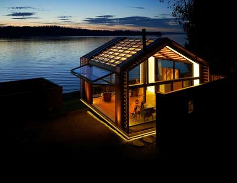 Glammed-Up Garage Gazebos - Illuminated Waterfront Cabin is an Elegant Skeleton of an Old Structure