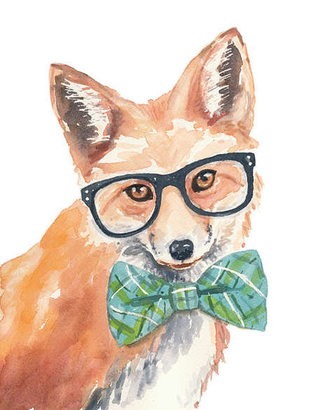 Whimsical Hipster Animal Watercolors - Artist Deidre Wicks Sells Animal Watercolor Paintings