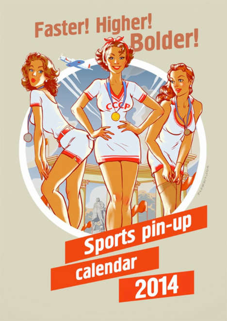 Playful Olympic Pinups Calendars - The Olympic Pinup Calendar Keeps the Spirit of the Games Alive
