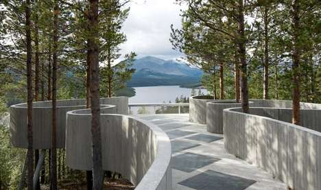 Undulating Architectural Lookouts - The Sohlbergplassen Viewpoint Elegantly Curves Around the Trees