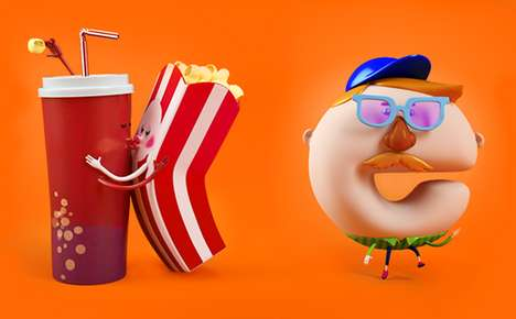 Cartoonish Letter Characters - Nickelodeon Popcorn by Berd Targets Youthful Television Viewers