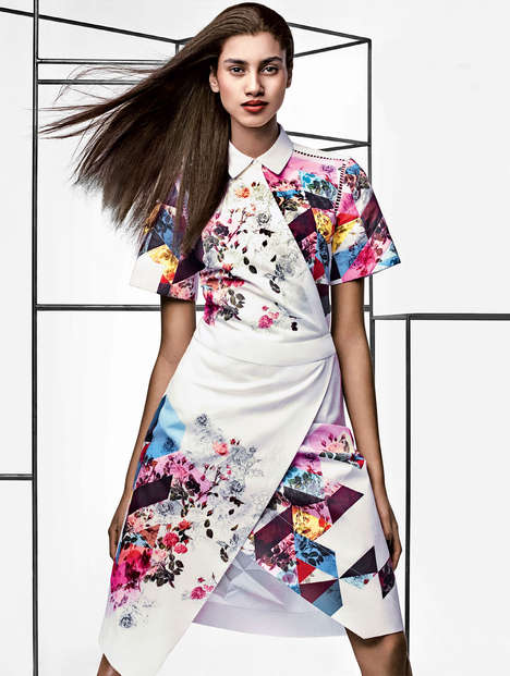 Geometric Floral Fashion Editorials - Craig McDean Shot and Editorial for Vogue US March 2014