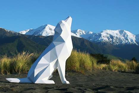 Blank Life-Sized Sculptures - Ben Foster Creates Stunning All-White Geometric Animals