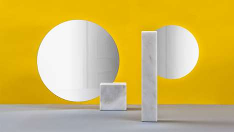 Rock-Embedded Reflectors - The Pi Mirrors Playfully Merge Marble with Round Looking Glasses
