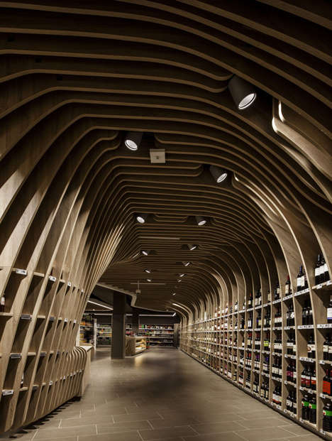 Cavernous Curved Wine Markets - The Spar Supermarket Makes Shopping for Groceries Stylish