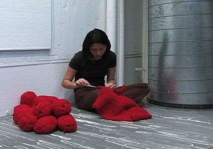 Knitted Cocoon Performance Art - Enclosure by Bea Camacho Addresses Ideas of Isolation and Shelter