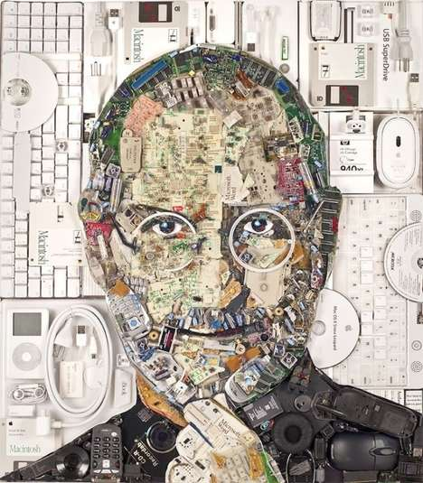 Refurbished Product Portraits - This Clever Artist Creates a Steve Jobs Portrait with E-Waste