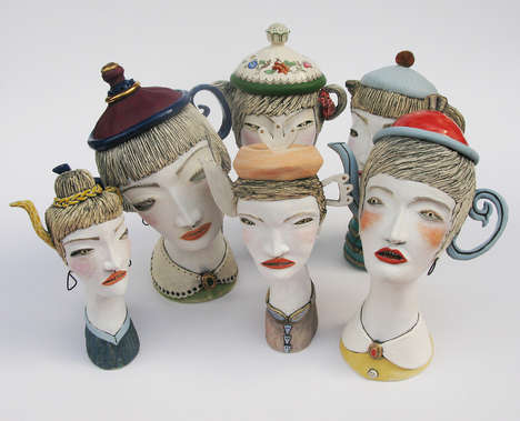 Expressively Sophisticated Teapots - Artist Ita Drew Injects Each Teapot Head with Personality