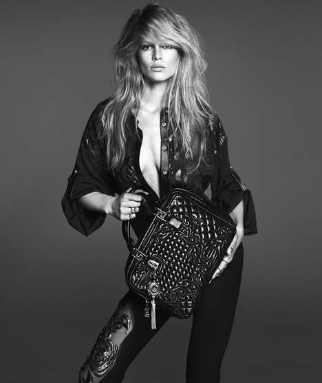 Grayscale Bombshell Fashion Ads - The Versace Spring 2014 Woman Campaign Stars Anna Ewers
