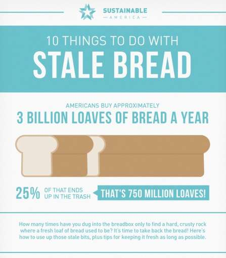 Life-Stretching Grain Graphics - Sustainable America Shares Practical Tips for Stale Bread