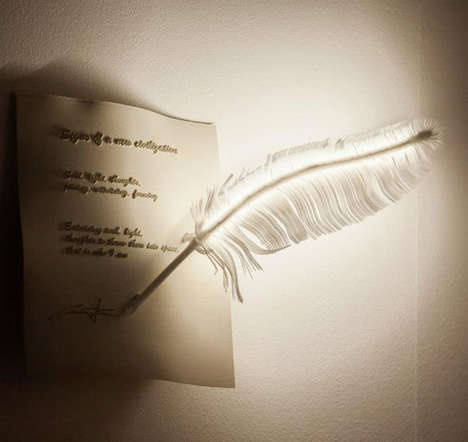 Whimsical Feather Lighting - The Plune Lamp by Franz Canins Emits a Gentle and Graceful Glow