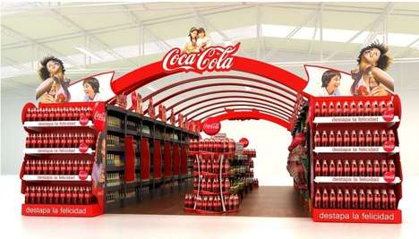 Rainbow Arched Drink Displays - This Coca-Cola Display Brings the Smiles with Rainbow