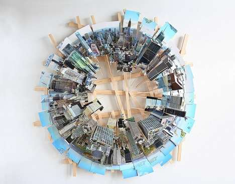 Aerial View Cityscape Dioramas - These Wooden Dioramas Depicts Aerial Views of Tall City Buildings