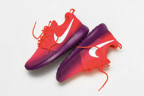 Ombre Running Shoes - The Nike WMNS Roshe Run Print Comes in Laser Crimson and White-Bright Grape