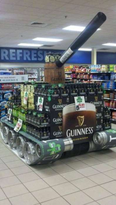 Artillery Style Beer Displays - This Guinness Beer Tank Brings Out the Big Guns