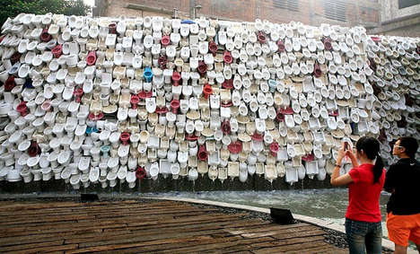 Monumental Makeshift Toilet Fountains - This Fountian Installation is Made of 10,000 Toilet Bowls