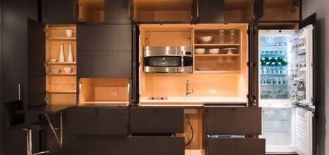 Sleek Kitchen-Confining Units - Stealth Kitchen Modules Hold an Entire Kitchen Within a Cabinet